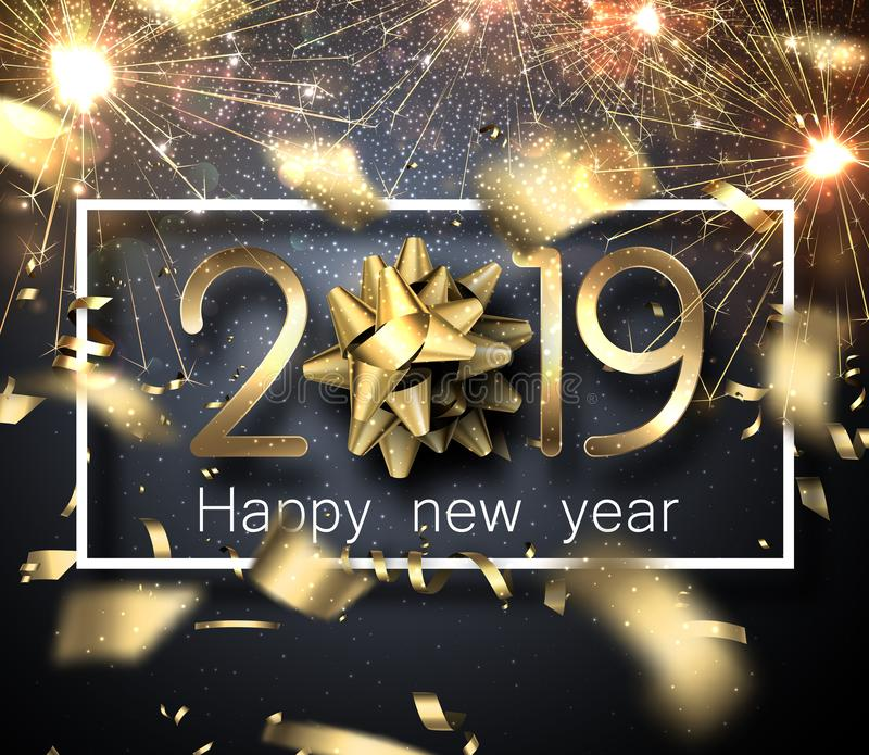 Happy New Year 2019 card with sparklers, bow and blurred golden royalty free illustration