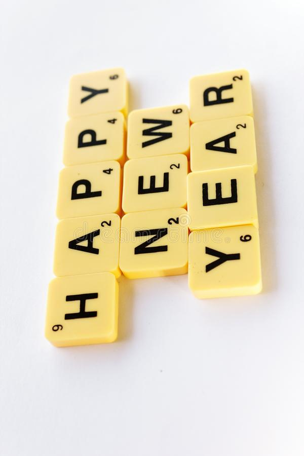 Happy New Year. Side view displying word-Happy New Year on the white background royalty free stock photography