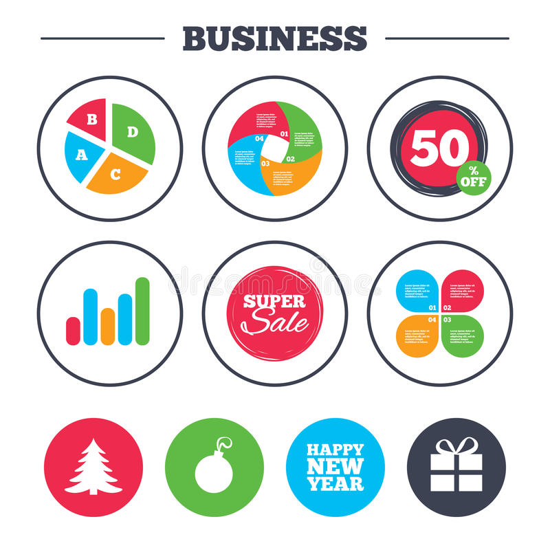 Happy new year sign. Christmas tree and gift box. Business pie chart. Growth graph. Happy new year icon. Christmas tree and gift box sign symbols. Super sale vector illustration