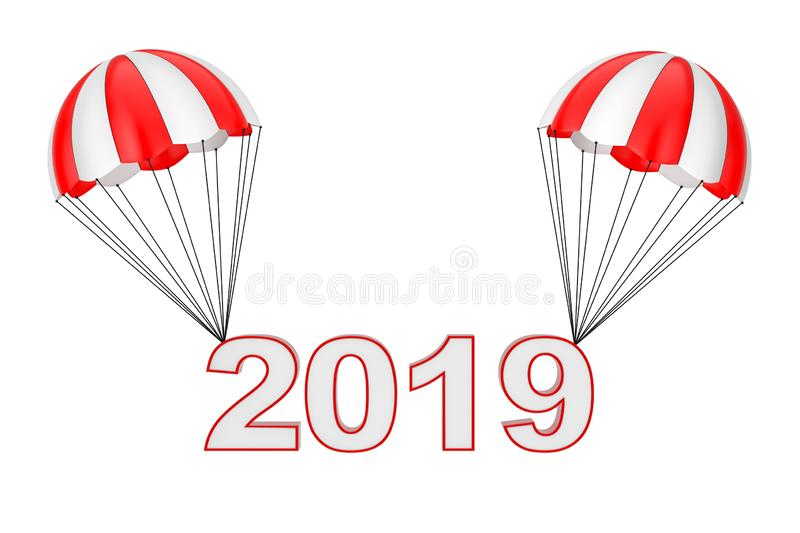 Happy New Year 2019 Sign Flying on Parachute. 3d Rendering stock illustration