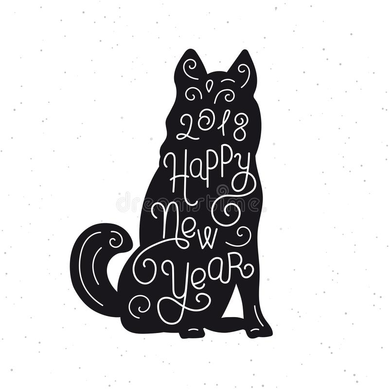 Happy New Year Silhouette Hand Lettering Chinese Calendar Symbol