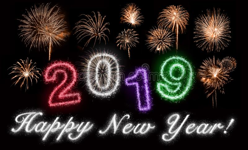 Happy New Year In Silver, 2019 Disoriented stock images