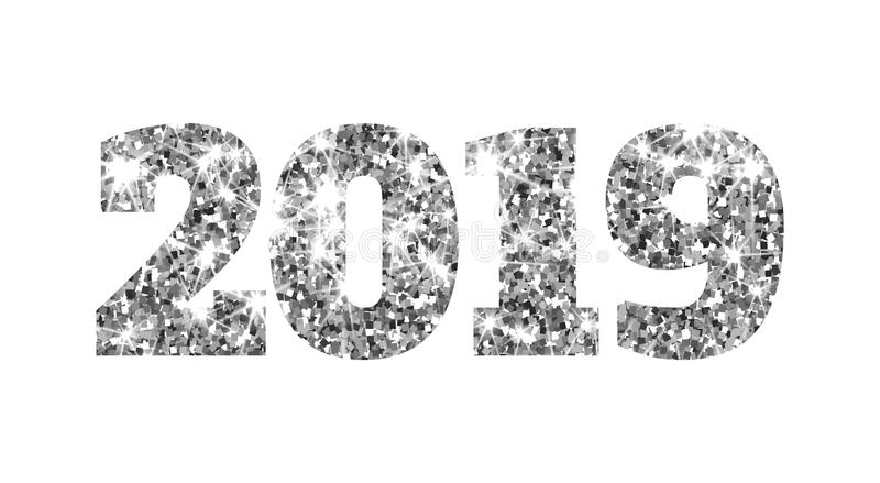 Happy new 2019 year. Silver glitter particles and sparkles. Holidays vector design element for calendar, party stock illustration