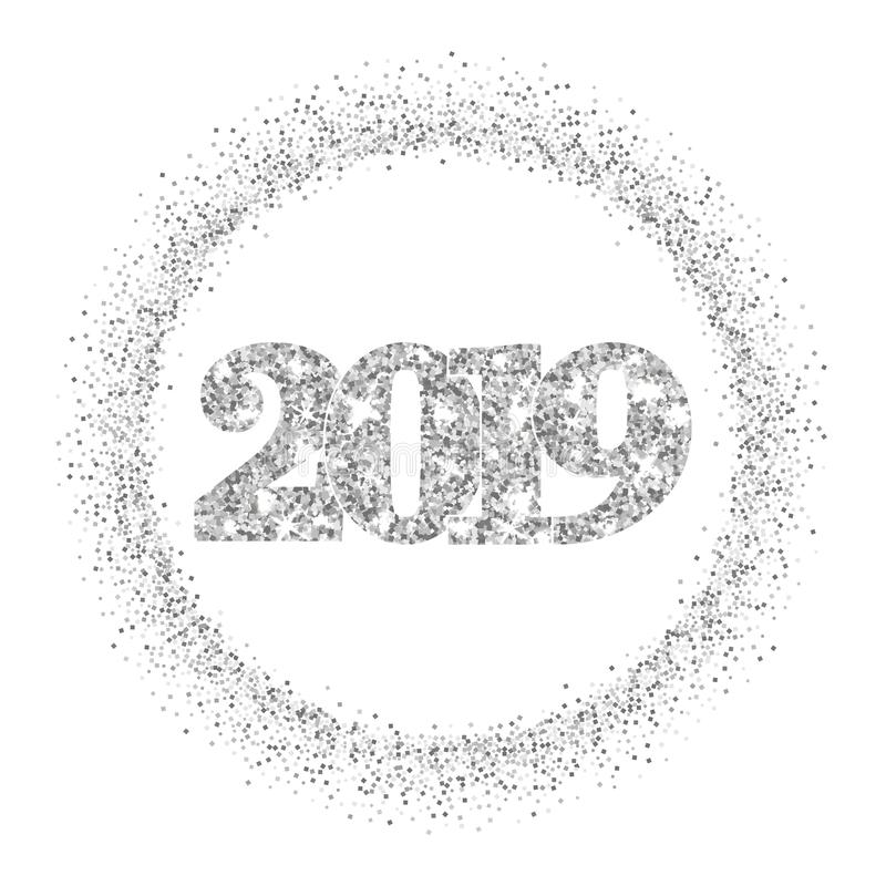 Happy New Year silver number 2019, circle frame. Silvery glitter border isolated on white background. Shiny pattern royalty free illustration