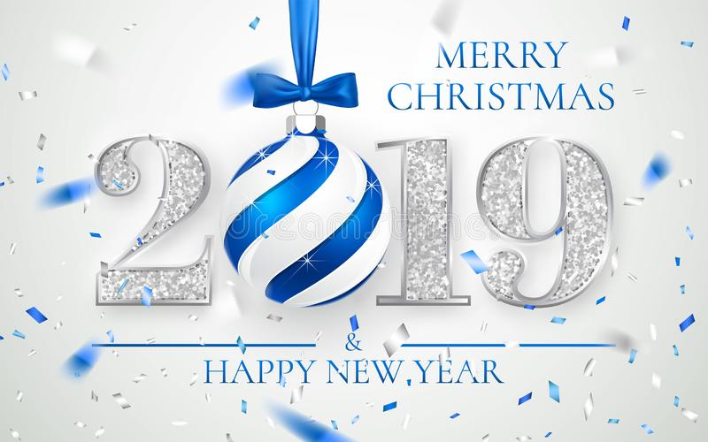 Happy New Year 2019, silver numbers design of greeting card, falling shiny confetti, Xmas ball with blue bow, Vector illustration.  royalty free illustration