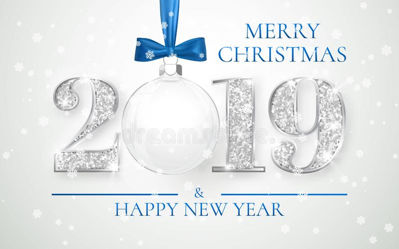 Happy New Year 2019, silver numbers design of greeting card, Xmas ball with blue bow, Vector illustration.  stock illustration