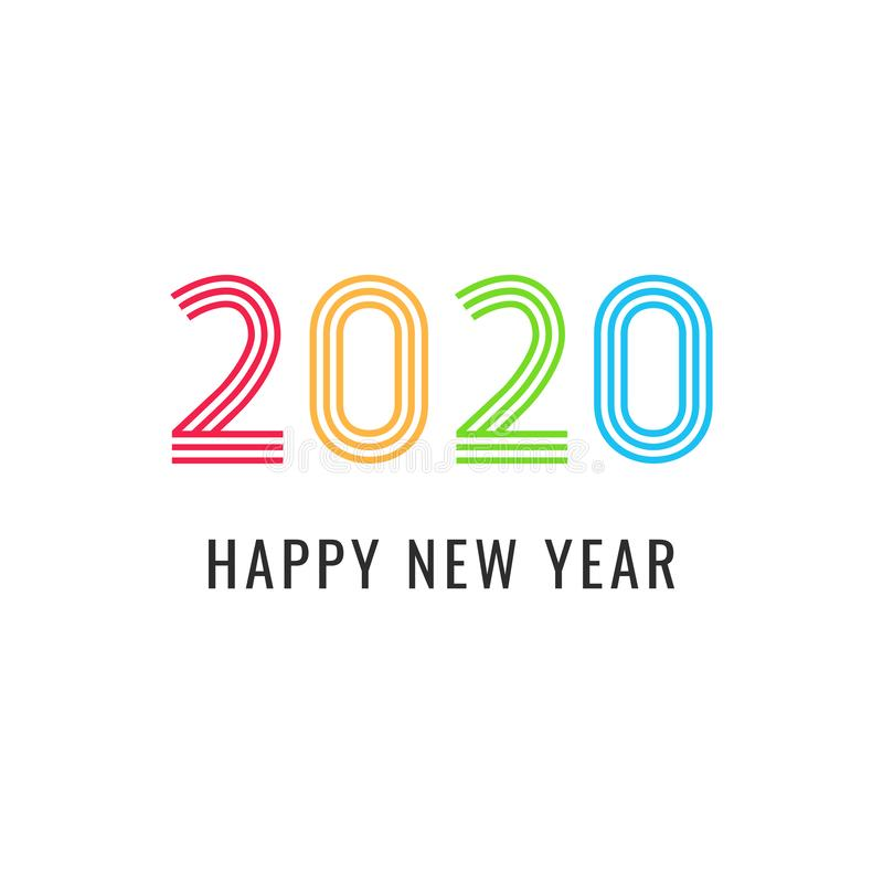 2020 Happy New Year simple greeting card or cover for calendar vector illustration