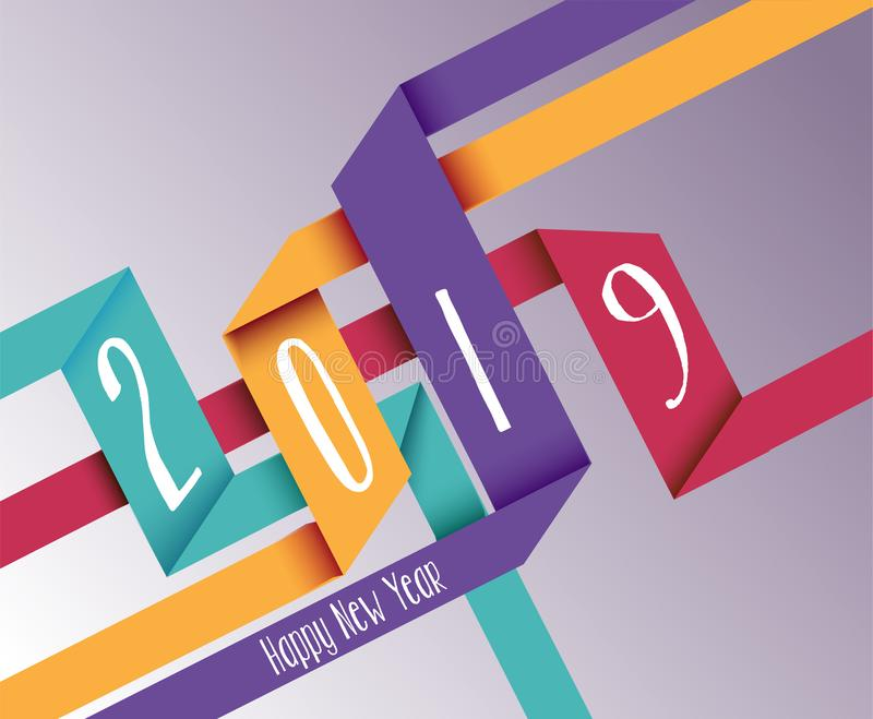 Happy new year 2019 simple origami background stock illustration