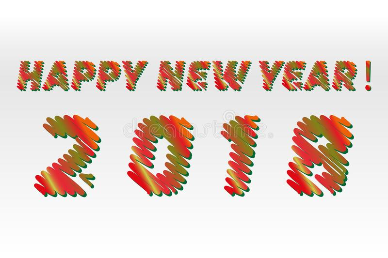 Happy new year 2018. Sketch different colors letters are made like a scribble.Vector collection of colorful sketch fonts isolated. On white background stock illustration