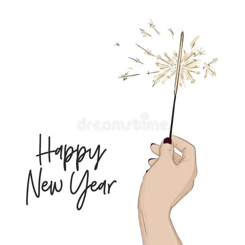 Happy new year sketch with hand holding bengal light. Shine bright winter holidays symbol. Magic Holiday greeting card royalty free illustration