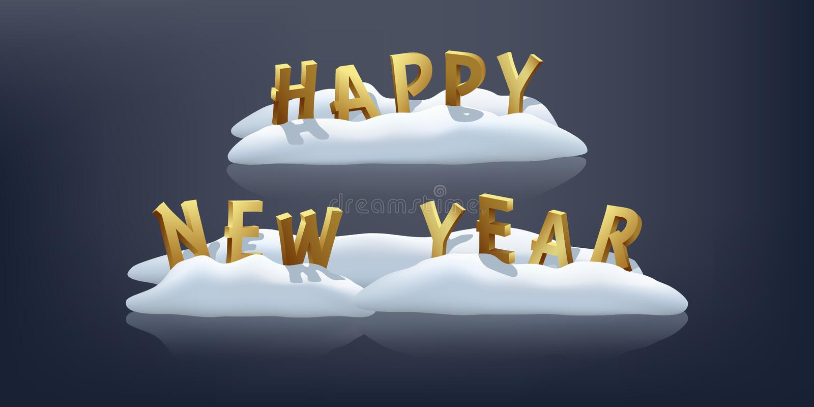 Happy New Year on snow design element. Vector three-dimensional golden sign on blue background. Happy New Year on snow design element. Vector three-dimensional stock illustration