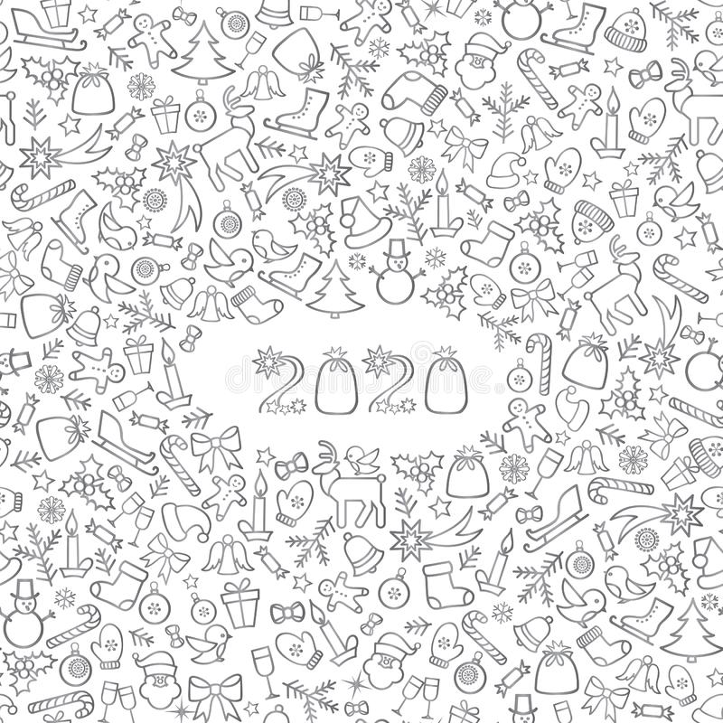 Happy New Year 2020. Snow winter holiday calendar silver background. Christmas greeting card with lettering vector illustration
