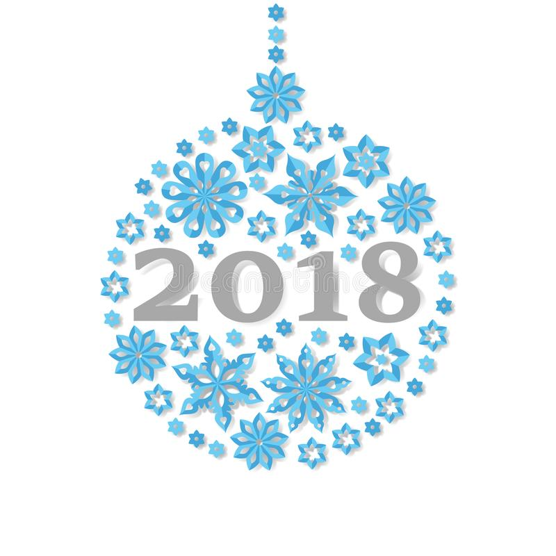 Happy New Year 2018 snowflake christmas ball holiday congratulation card. stock illustration