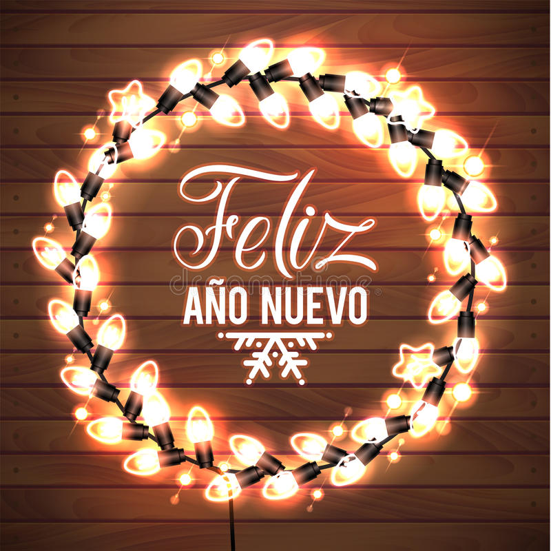 Happy New Year Spanish Language Poster. Glowing Christmas