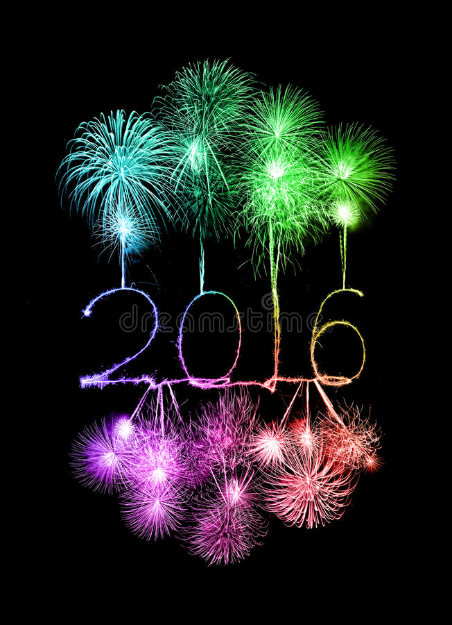 Happy new year 2016 with Sparkle firework royalty free stock image
