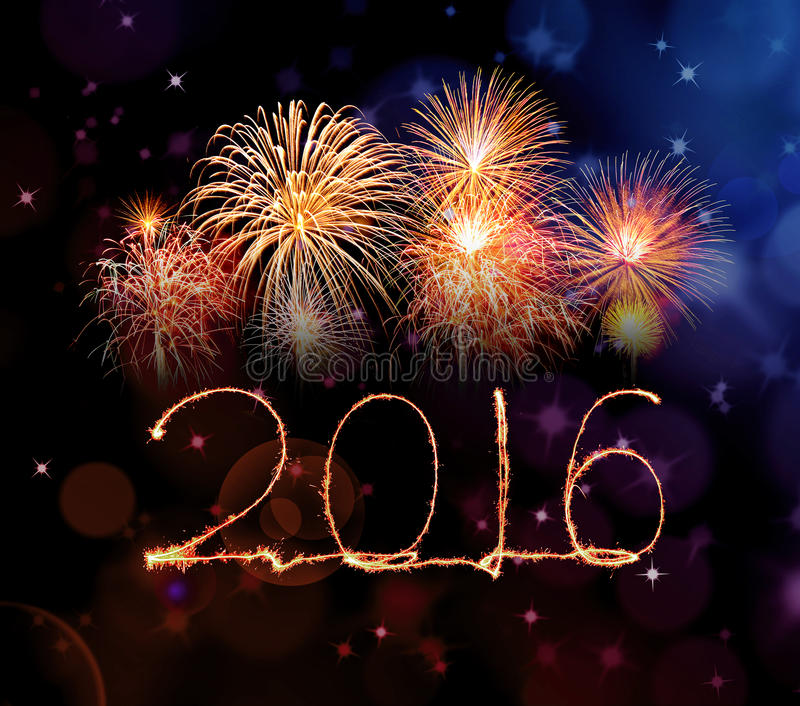 Happy new year 2016 with Sparkle firework royalty free stock photo