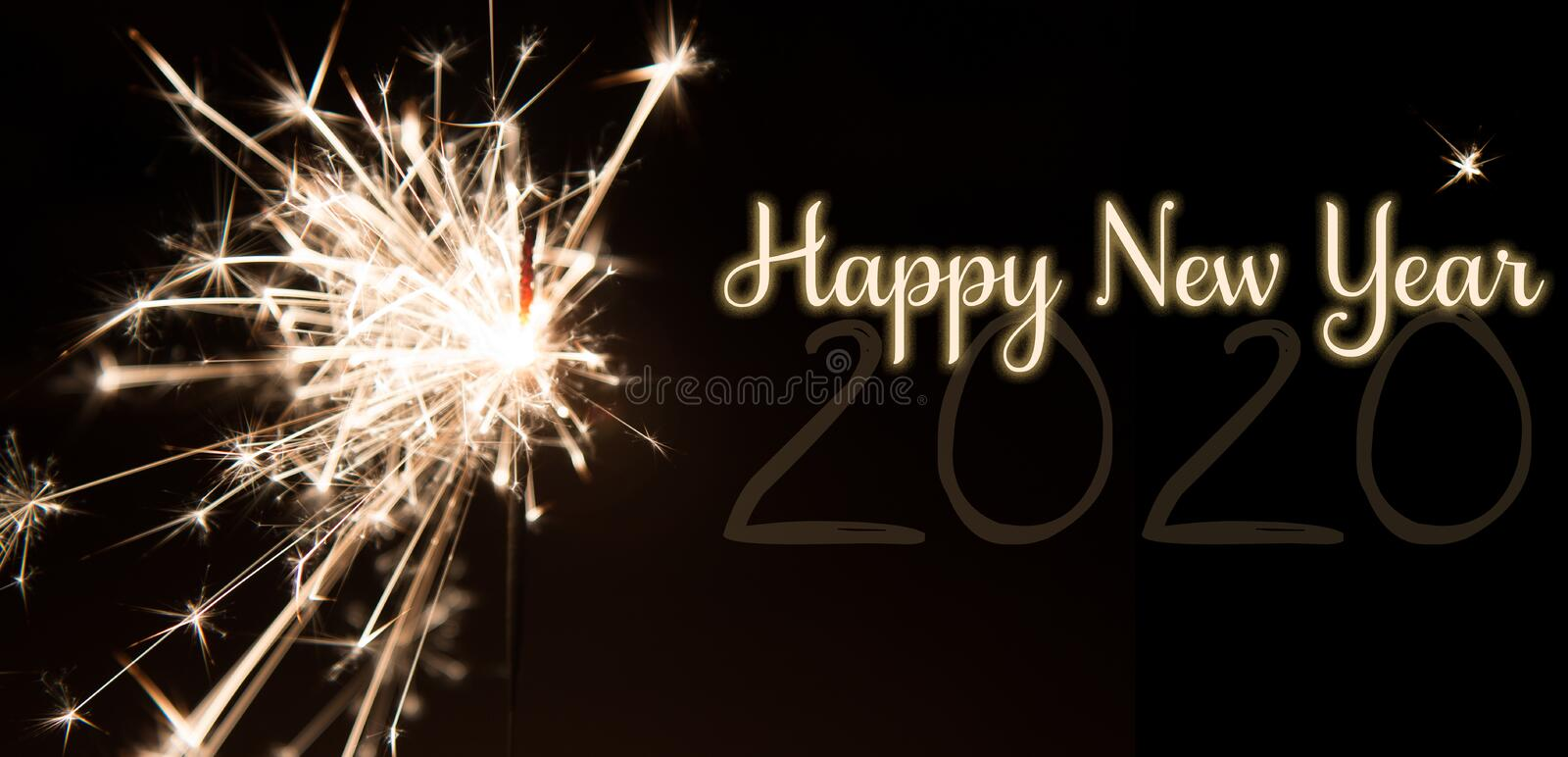 Happy New Year 2020 sparkler fireworks stock image