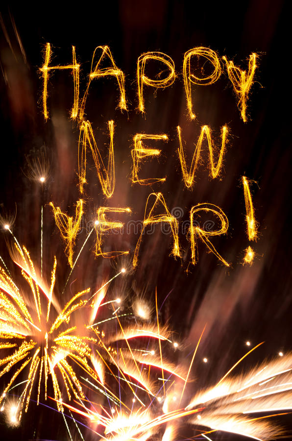 Free Happy New Year Sparklers With Gold Fireworks Royalty Free Stock Photos - 27531158