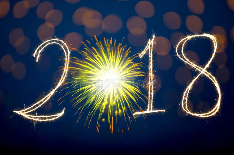 Happy New Year 2018 with Sparklers royalty free stock photos