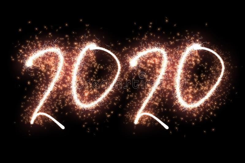 Happy New Year 2020. Sparkling number 2020 on black background royalty free stock photography