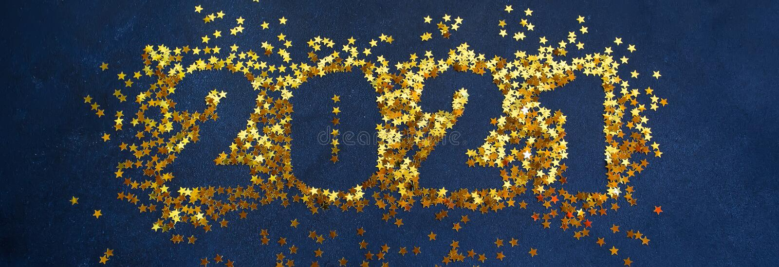 Happy New Year 2021. Sparkling Stars On Black Background ...