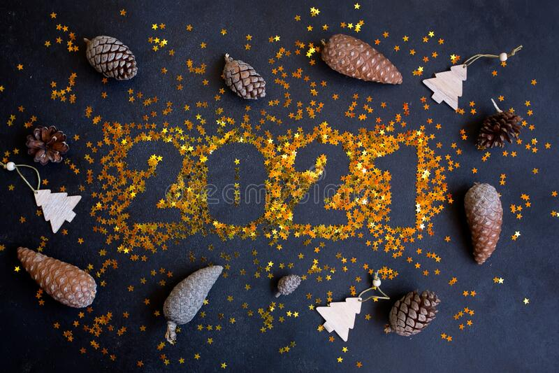 Happy New Year 2021. Sparkling stars on black background. Beautiful greeting card. Happy New Year 2021. Sparkling stars on black background. Beautiful greeting royalty free stock photos