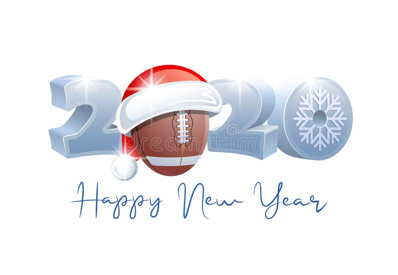 2020. Happy New Year! Sports greeting card. American Football. 2020. Happy New Year! Sports greeting card with American Football ball and Santa Claus hat royalty free illustration