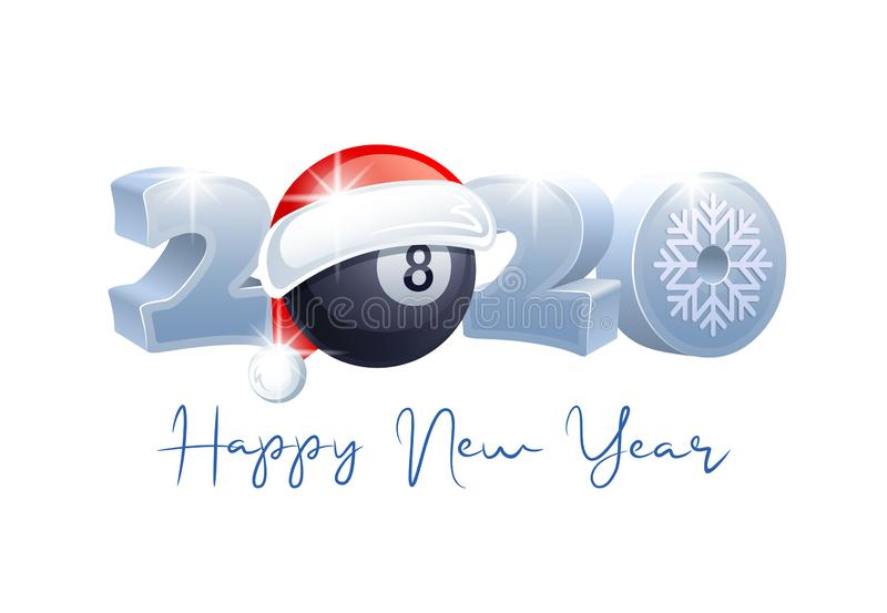 2020. Happy New Year! Sports greeting card. Billiard. 2020. Happy New Year! Sports greeting card with Billiard ball and Santa Claus hat. Vector illustration vector illustration