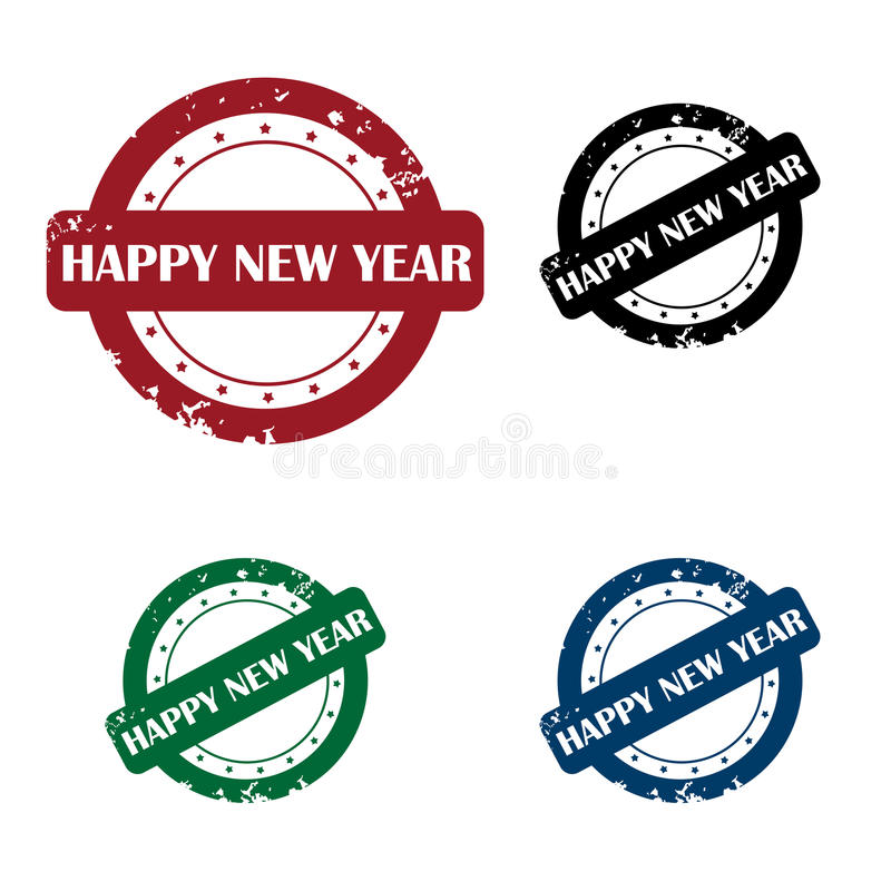 Happy new year stamp. Set of four grunge happy new year stamp in three tones:red, black, green and blue.Isolated on white background.EPS file available