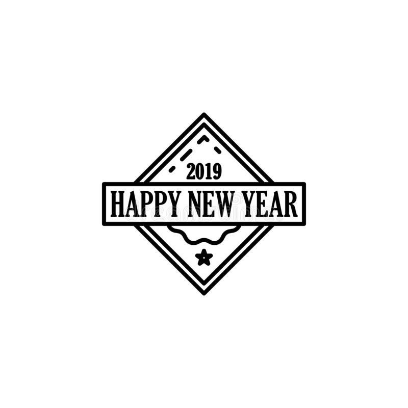 Happy New Year 2019 Stamp icon. Element of happy new year icon for mobile concept and web apps. Thin line Happy New Year 2019 Stam. P icon can be used for web royalty free illustration