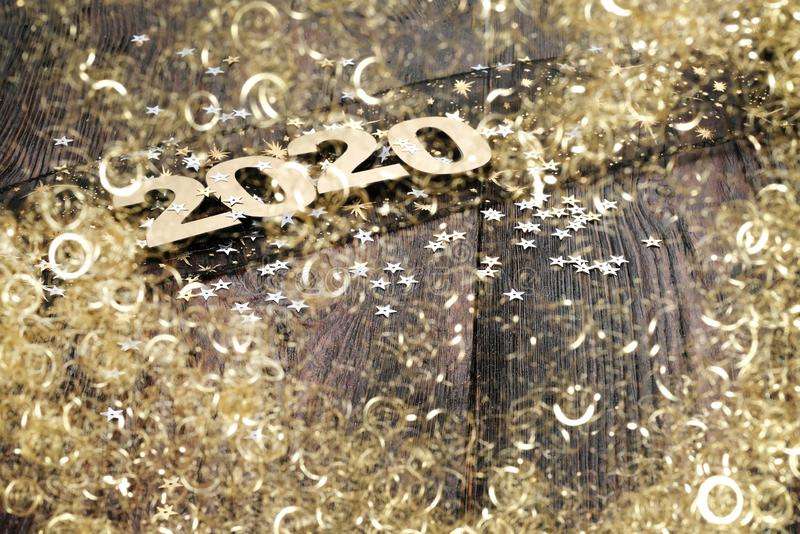 Happy New Year 2020. Symbol from number 2020 on abstract background royalty free stock images