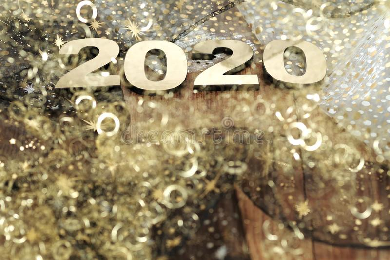 Happy New Year 2020. Symbol from number 2020 on abstract background royalty free stock image