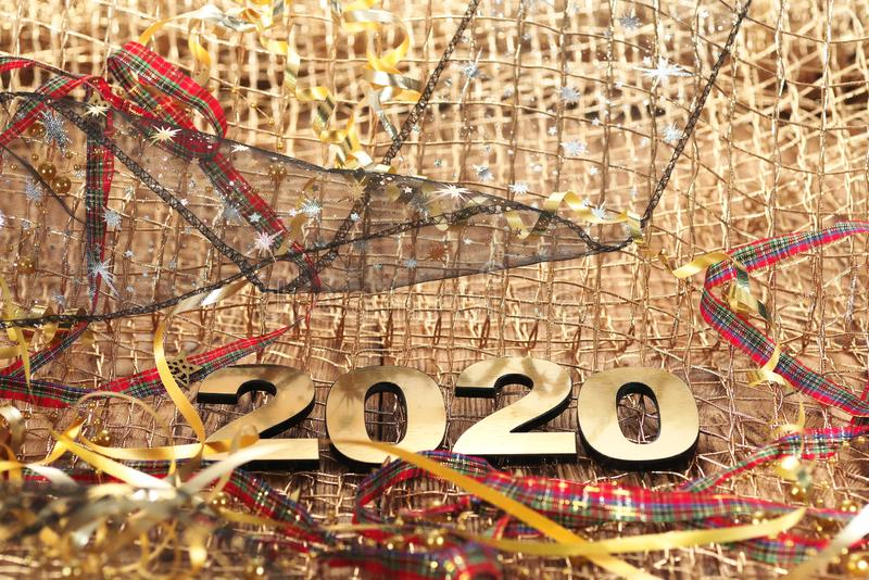 Happy New Year 2020. Symbol from number 2020 on abstract background stock photo
