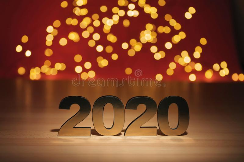 Happy New Year 2020. Symbol from number 2020 on abstract background stock image