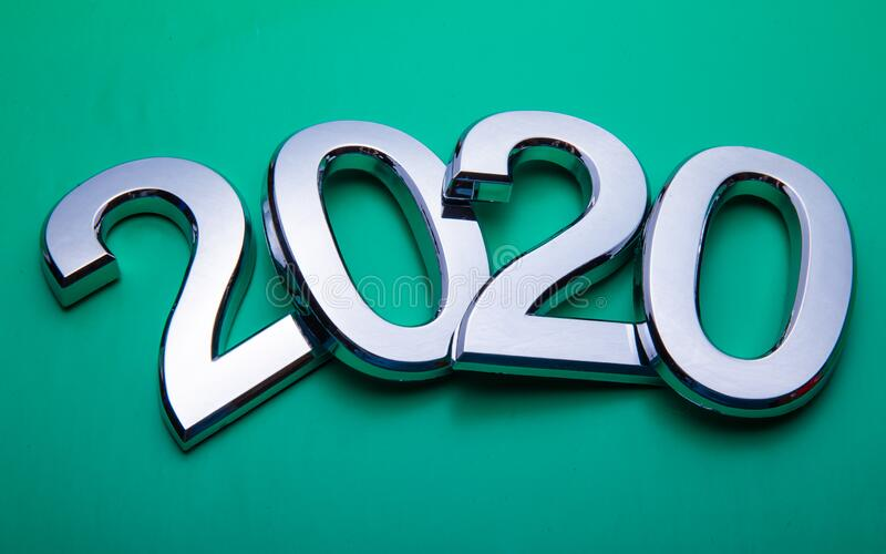 Happy New Year 2020. Symbol from number 2020 on bright background. Silver letters in the form of numbers 2020. stock photos