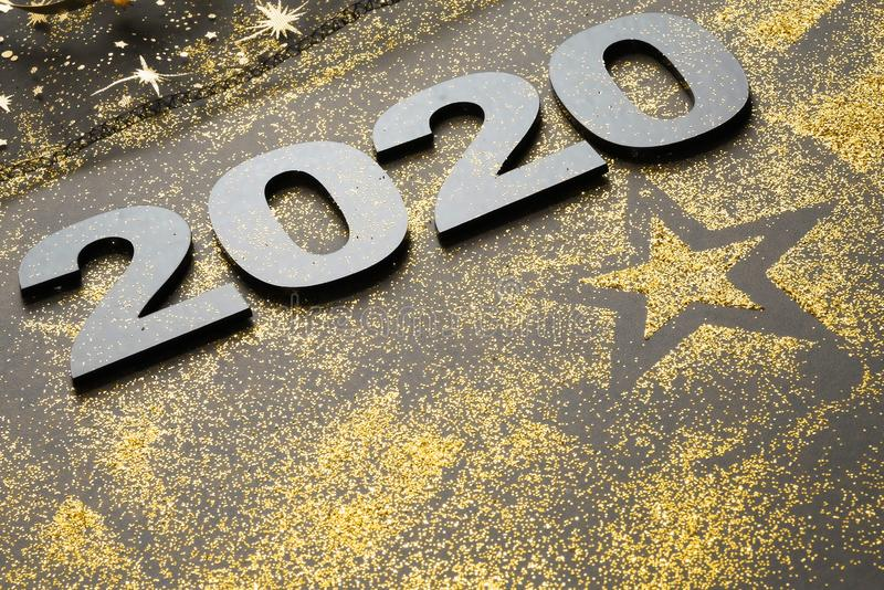 Happy New Year 2020. Symbol from number 2020 on stone background stock photo