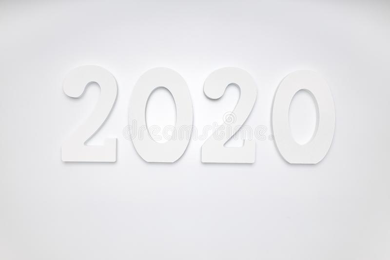 Happy New Year 2020. Symbol from number 2020 on white background stock photo