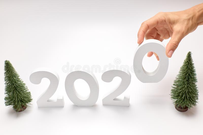 Happy New Year 2020. Symbol from number 2020 on white background royalty free stock photography