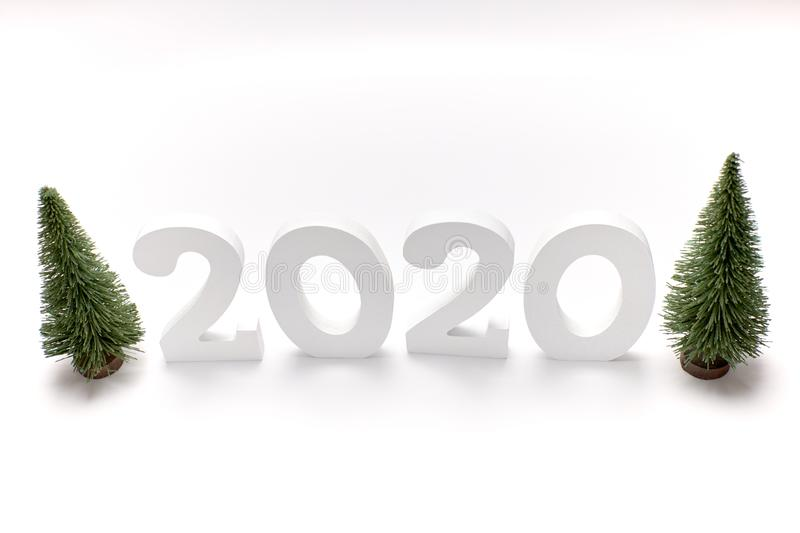 Happy New Year 2020. Symbol from number 2020 on white background royalty free stock image