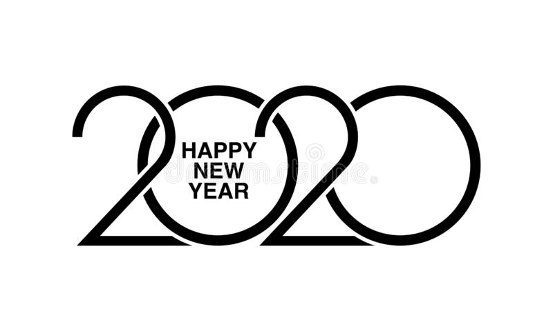 Happy New Year 2020-tekstontwerp logo's Ontwerpsjabloon voor brochure, kaart, banner vector illustratie