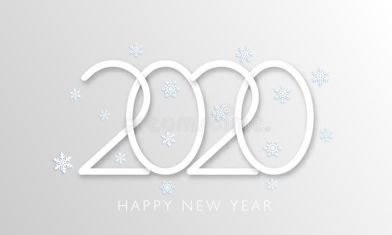 Happy New Year 2020-tekstontwerp stock afbeeldingen