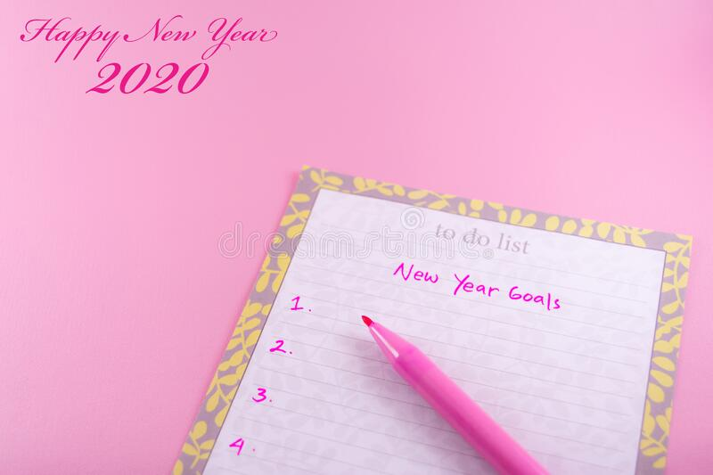 Happy New Year 2020 template for greeting card on pink background stock image