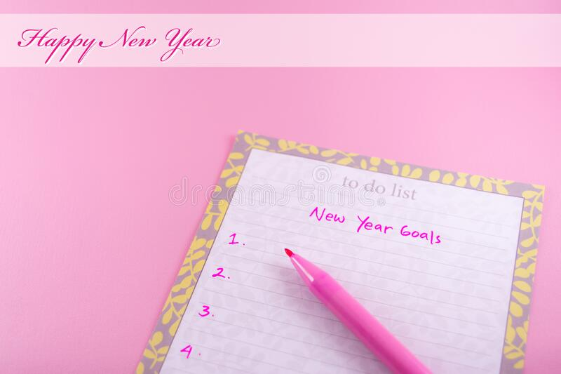 Happy New Year template for greeting card on pink background. Woman or female theme stock photos