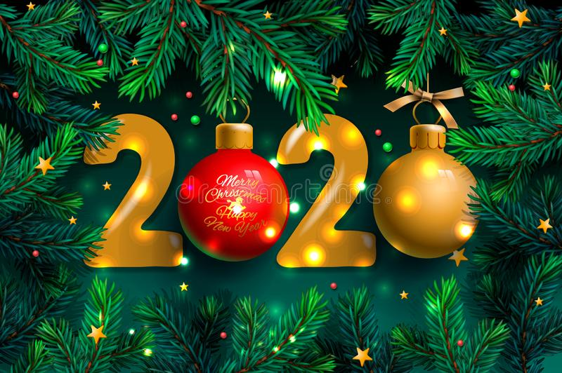 Happy New Year 2020 template. Holiday vector illustration with realistic golden Christmas balls and Christmas Tree Branches stock photography
