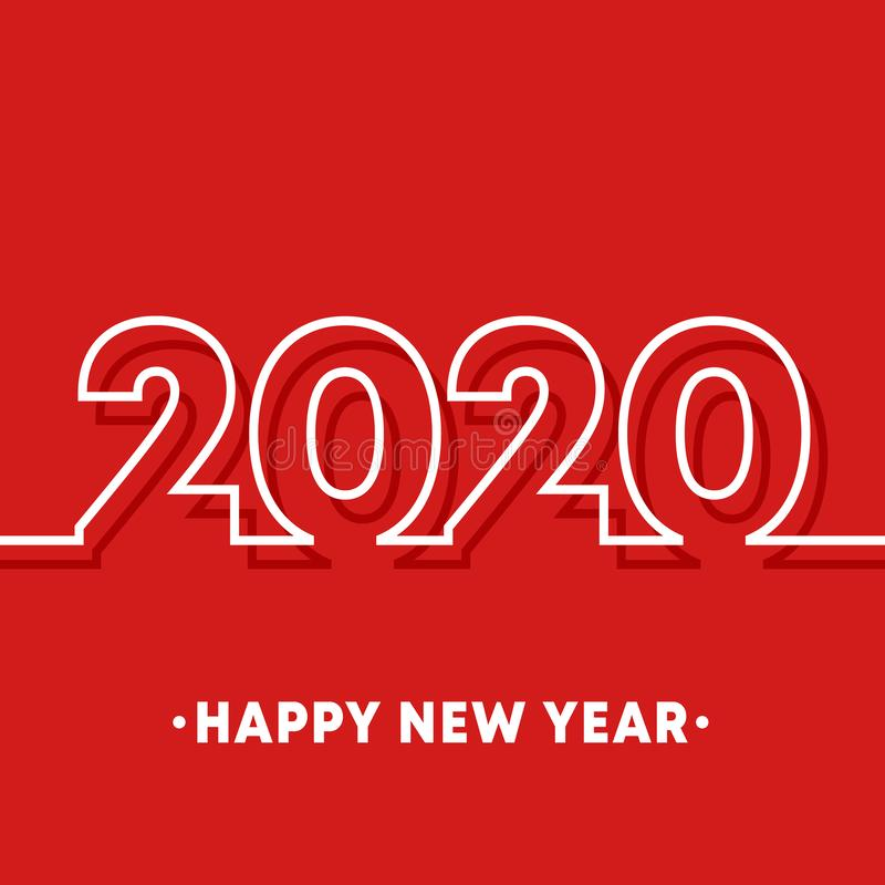 2020 Happy New Year template. Minimal line design background for typography, printing products, flyer, brochure covers. Or invitation cards. Vector illustration vector illustration