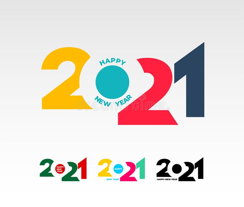 Happy New Year 2021 Template. Set Of Design For Banner ...