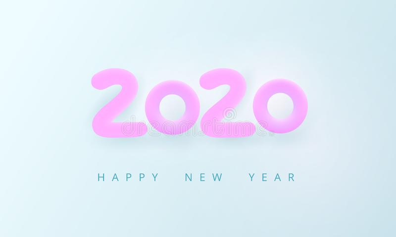 Happy New Year 2020. Tender holiday card. Pink volumetric number 2020 on a light blue background. Cozy, airy, bright, soft style. Calm pure joyful magic mood royalty free illustration
