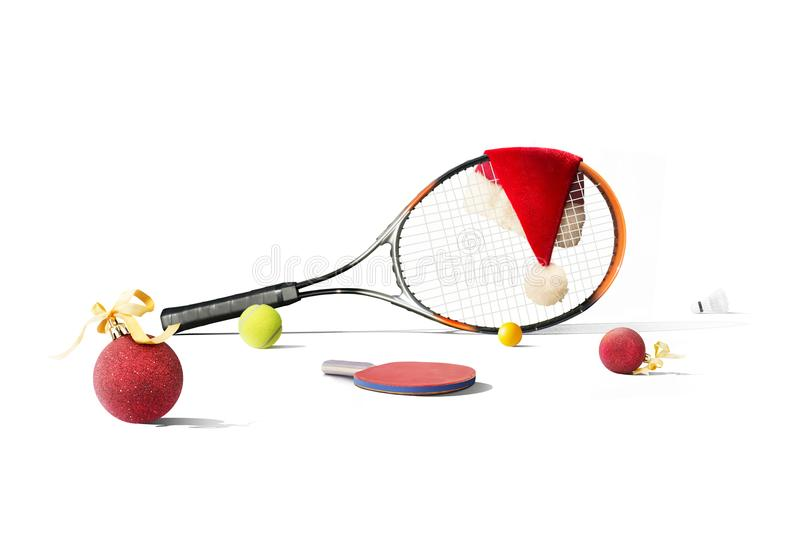 Happy New Year tennis equipment. Sport stock images