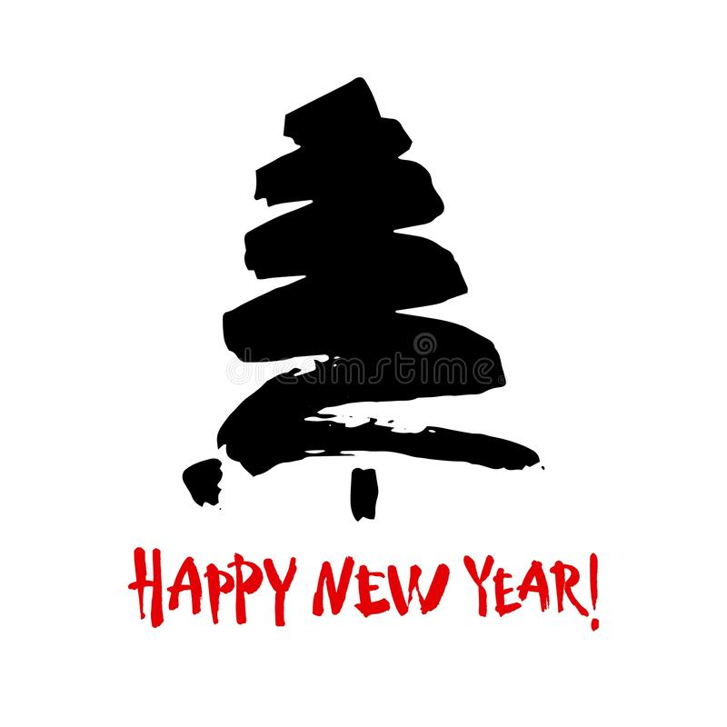 Happy new year text. Black brush calligraphy on white background with abstract christmas tree royalty free illustration