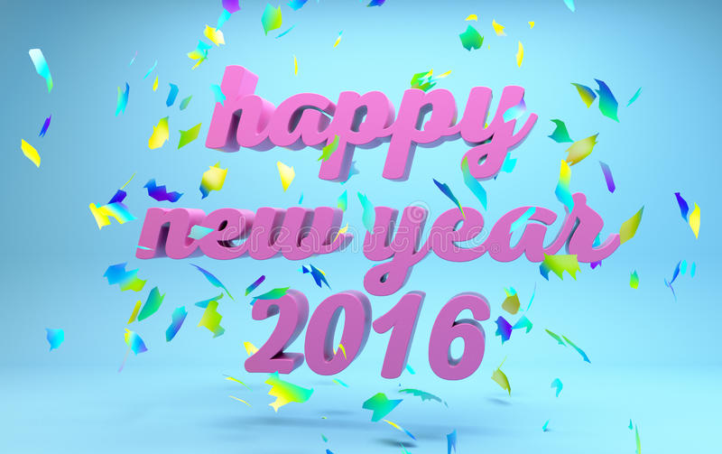 Happy New Year 2016 text. On blue background stock illustration